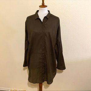 Oversized free people army green blouse